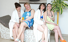 These women love to unwind in an all mature sauna