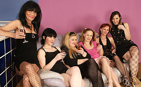 Six old and young lesbians going to town and strip permanent