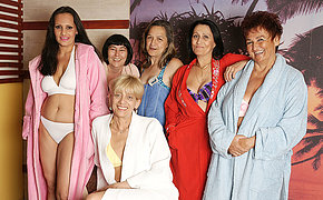 Mature women getting relaxed in an all female sauna
