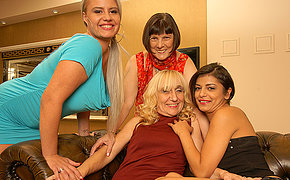 Four old with the addition of young lesbians having fun