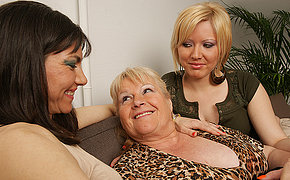 Three horny old and young lesbians enjoy each other