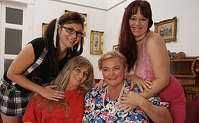Four horny superannuated and young lesbians make it special