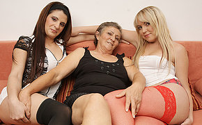 Three mouldy old coupled with young lesbians do it on the couch