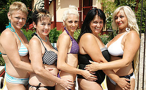Five elderly and young lesbians go wild at along to pool