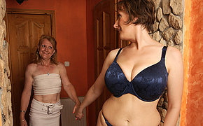 Two horny mature lesbians make out and then some