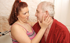 Horny old geezer bringing about a big titted teen