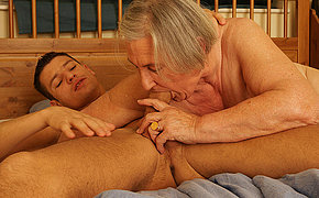 Granny gets a mouth full be required of cum