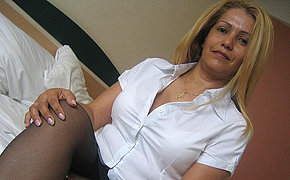 Horny mature Gladis is leakage all over the place