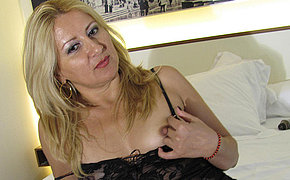 Horny blonde mama playing all round herself