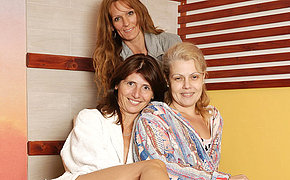 Mature upper classes relaxing in an all female sauna