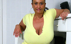 Big breasted MILF object wet and wild