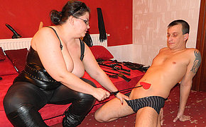 Unnatural mature mistress fucking and sucking