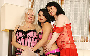 Three naughty old and young lesbians having a ball