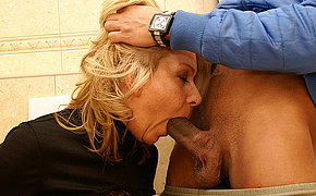 She licks ass fucks and sucks on a public toilet