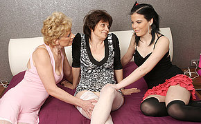 Three old with an increment of young lesbians make out with an increment of then some