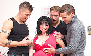 Big breasted housewife attracting beyond everything three guys