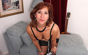 Horny American mature lady strips first plus then plays with her toy