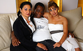 Hot Grownup interracial threesome goes wild
