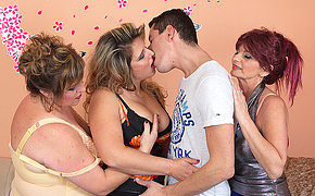 Three mature ladies sharing one hard cock
