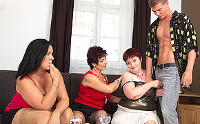 Three debased mature ladies sharing one hard cock