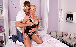 Kinky German housewife sucks big cock and gets fucked hard
