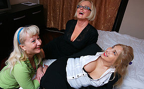 Three polluted housewives licking pussy