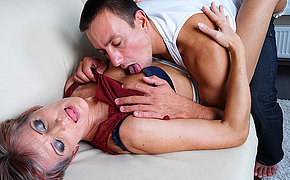 Horny mature battleaxe fucking her younger lover