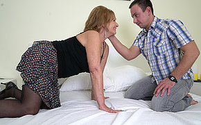 Naughty mature lsut doing say no to toy boy