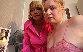 Horny old and young lesbian couple from the UK realize wet