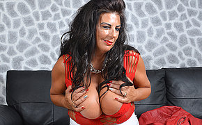 Huge breasted British housewife playing back herself