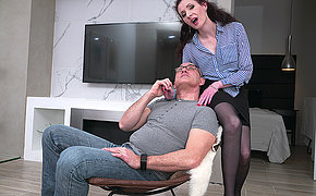 Horny mature lady fucking and sucking her lover
