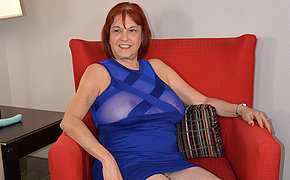Naughty American mature lady playing with myself