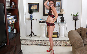 This naughty mom gets undressed together with then some