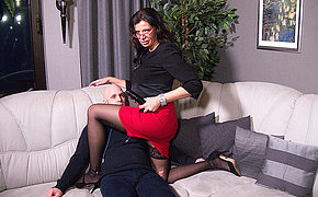 German mature mistress fucking a guy apropos the ass with a strapon
