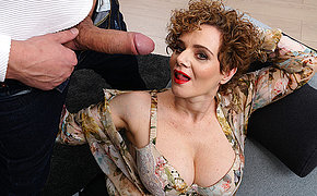 Hot mature MErce loves a throbbing hard cock in her mouth pussy and between her breast