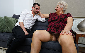 Dirty grandma blows her toyboy and gets fucked