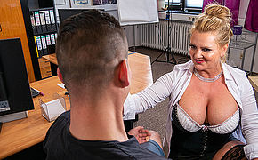 Busty German secretary blows and fucks her young entrant during job interviewg