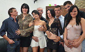 Four piping hot French ladies fuck their lovers in hot sort out sex party