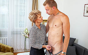 Sexy grandma seduces young chap and sucks his cock before he fucks her shaved pussy