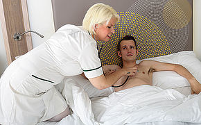 Horny mature nurse gives her young male patient a very special antidepressant